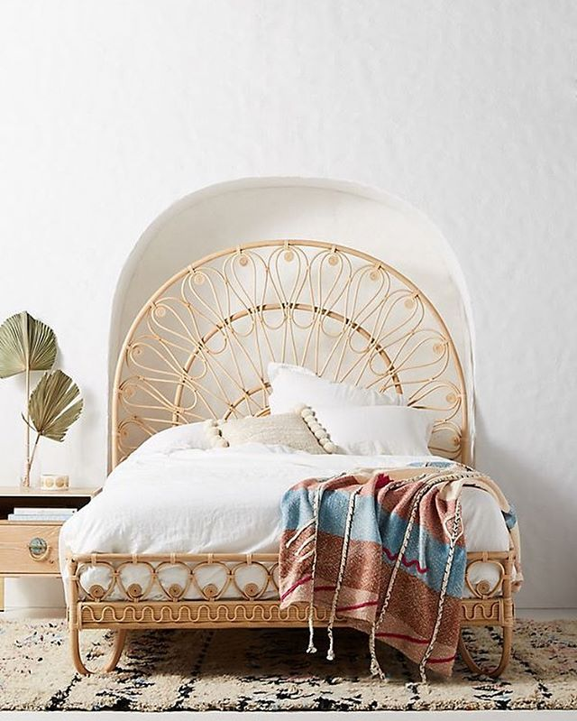Rattan has a special place in my heart! It brings me to those childhood days spent at my grandparent's summer cottage on the river Gauya.. in my home land Latvia.. sweet memories of worry-free days cuddling in a cosy rattan chair ☺️ #rattanfurniture #rattanbed #anthropologiehome #shopthelook