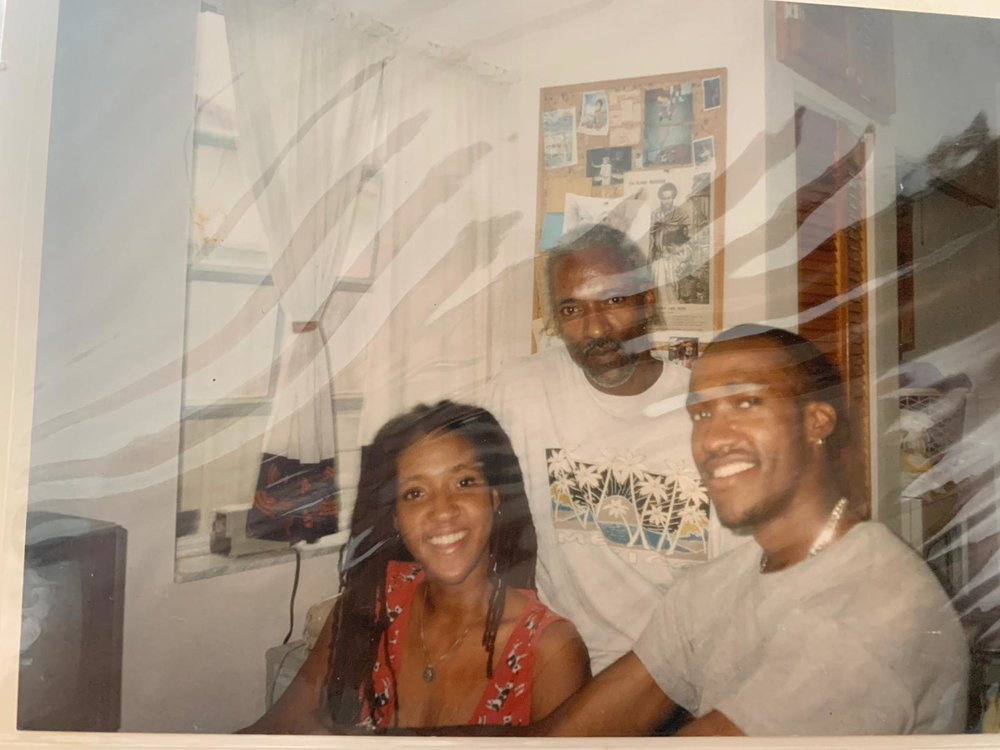 Old ass picture of my Uncle in Trinidad - love that guy! and my brother - I like him too! - are those cows on my shirt??? wtf???