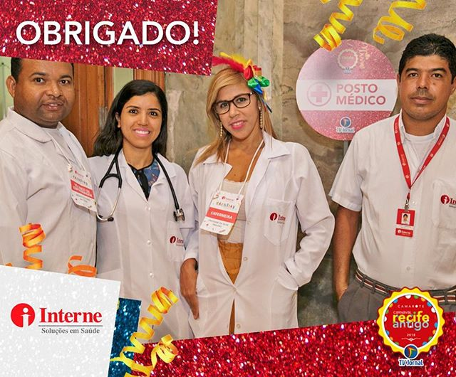 A equipe da @internesolucoesemsaude deu show de profissionalismo estando à disposição no @carnavalrecifeantigo durante os cinco dias de evento para prevenir e solucionar eventuais procedimentos de emergência! Nosso muito obrigado!