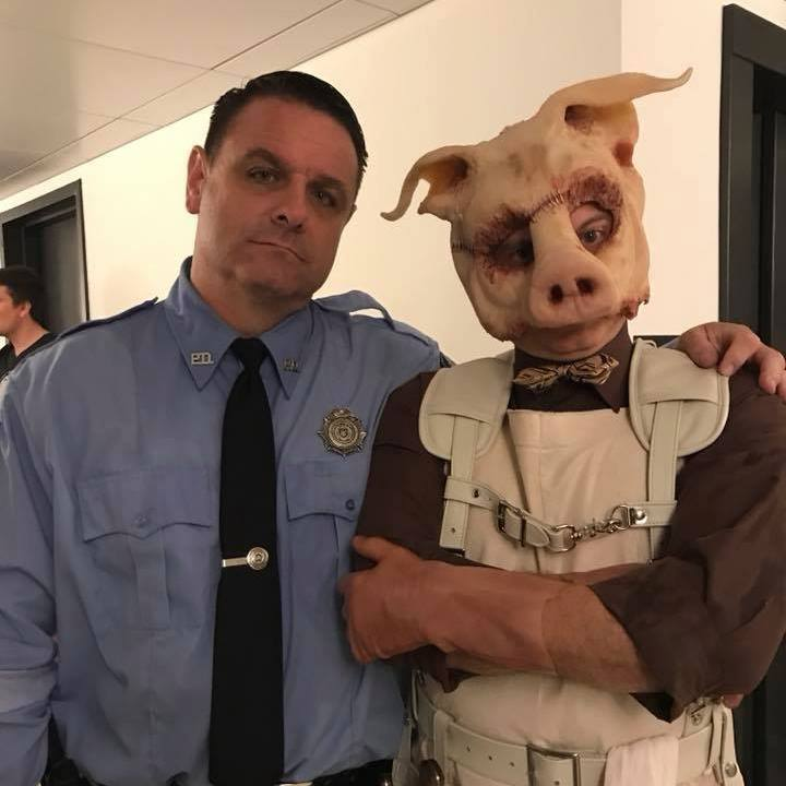 "on set of ""GOTHAM"" with Professor PYG (Michael Cerveris)"