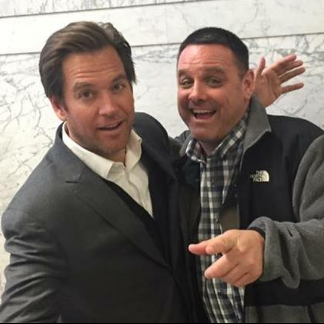 "on set of  ""BULL""  with Michael Weatherly"