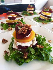 Golden and Purple beet and goat cheese tower