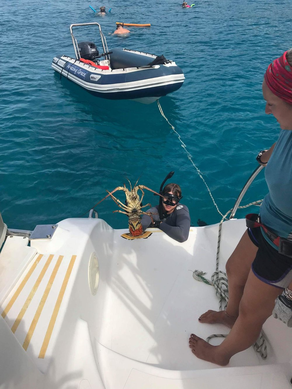 Captain Mark of Amazing Grace catching dinner! Virgin Gorda- April 2018