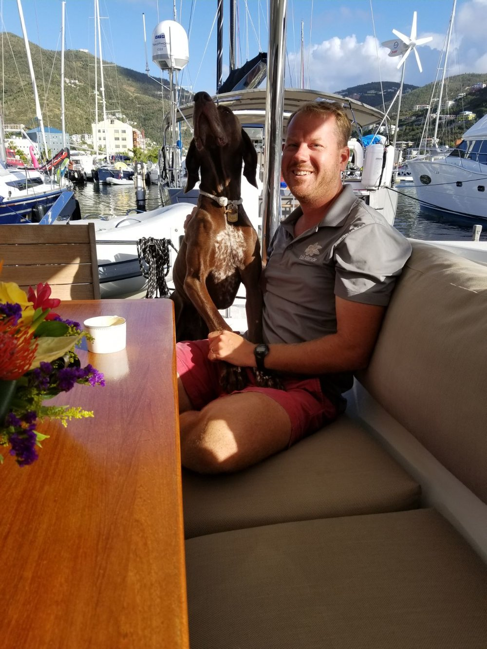 Meet Friday and his person Graham...along with Kristiann, they have the charter yacht Allende.