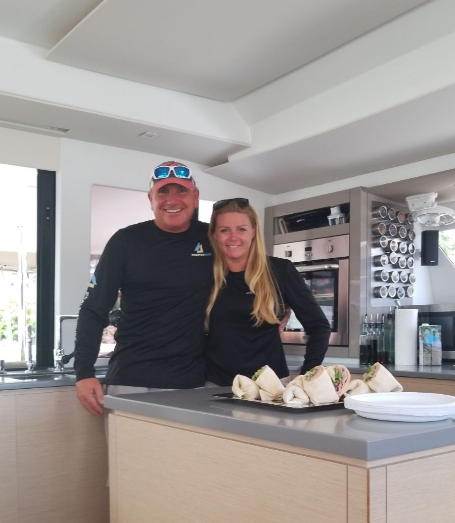 Captain Mark and Chef Heather of the charter yacht Mariann - St Thomas