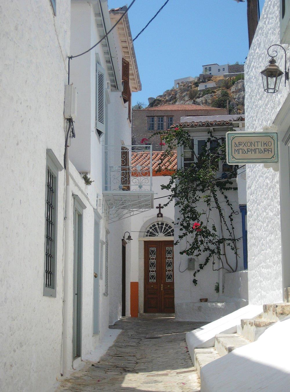 A street in town on Hydra, Greece
