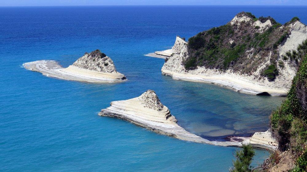 The Ionian Sea meets limestone in Corfu, Greece
