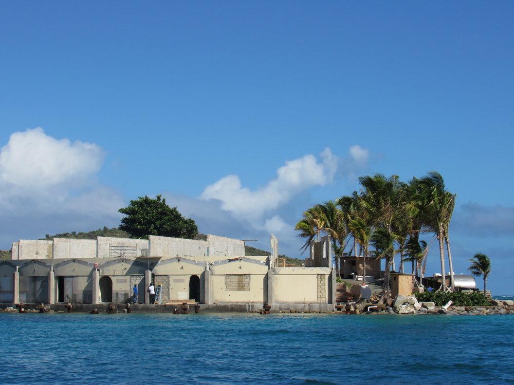 Saba Rock Island under construction.