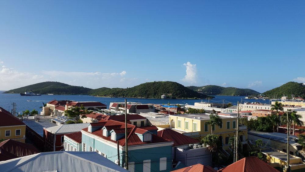 Rooftop view of Charlotte Amalie, St Thomas, USVI