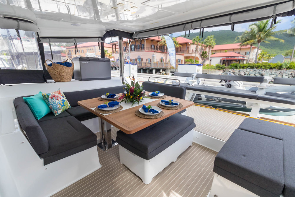Oui Cherie aft deck dining and lounge.