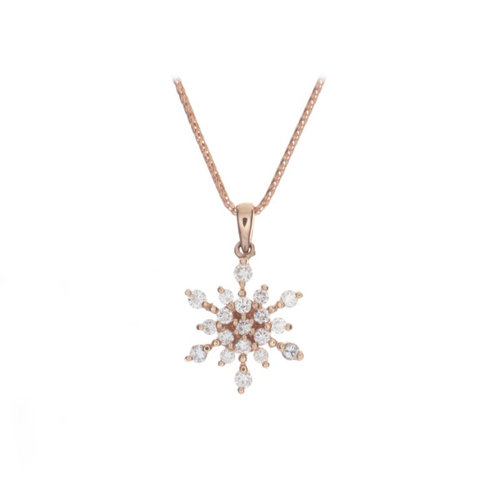 14kt rose gold diamond snowflake pendant tahoe aspen jewel box rose gold diamond snowflake pendant tahoe mozeypictures Gallery