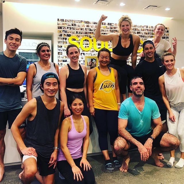 """When a few fine folk stay after class to do strength work with you in the lobby, you take a sweaty pic🌹(truth post to follow⬇️⬇️⬇️) . . . . Some days, getting up in front of a group of people to be the positive one is HARD. Yesterday was one of those days. And through that, I was reminded of these things: 1️⃣ @marvinfosterjr told us during training that we'd have to trust that the right people will walk into the room, and by natural selection we will build our community. The people who are drawn to come back to YOUR class are the right people to be there. These are just a few of the people who lifted my soul last night and continue to support ME being ME. I'm so grateful to grow stronger along side you, live and heal with you, and witness you become the athletes you were always meant to be. 2️⃣ Being a leader and community builder doesn't mean you have to smile all the time. The leader I strive to be, values authenticity above all else. This year, my challenge to myself is to break down that wall further, and take my own advice that I give riders daily: show up exactly as you are, and make no apologies for it because this is part of your process. 3️⃣ I was drawn to @soulcycle because something felt SO right about being in that room. Truth, community, healing, collective and individual power, dropping into your truth. I go to """"work"""" and heal. I meannnnn, that's pretty cool.  I ♥️ my Culver Fam #followyoursoul #soulcycleculvercity #lululemonbassador #gratitude"""