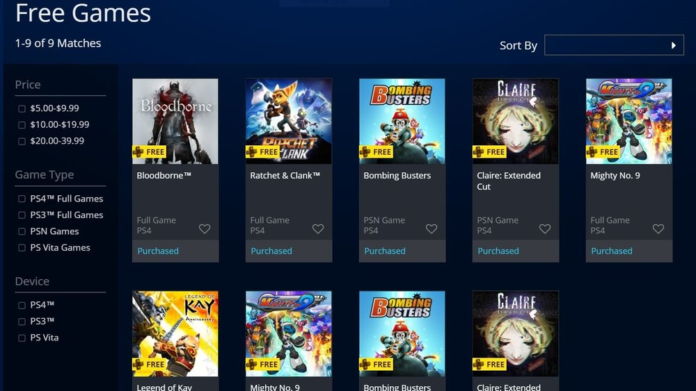 US PlayStation Store PS Plus Games