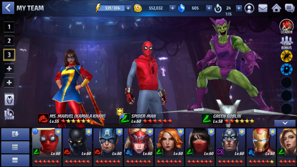 Marvel Future Fight - Team Selection page