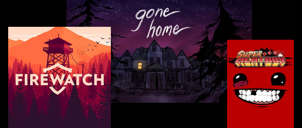 Firewatch, gone home, Super Meat Boy Thumbnails