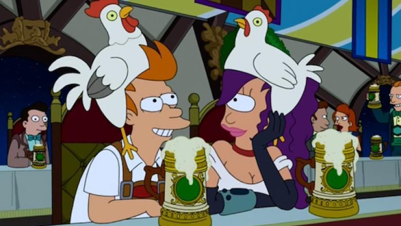 Fry and Leela at Oktoberfest.