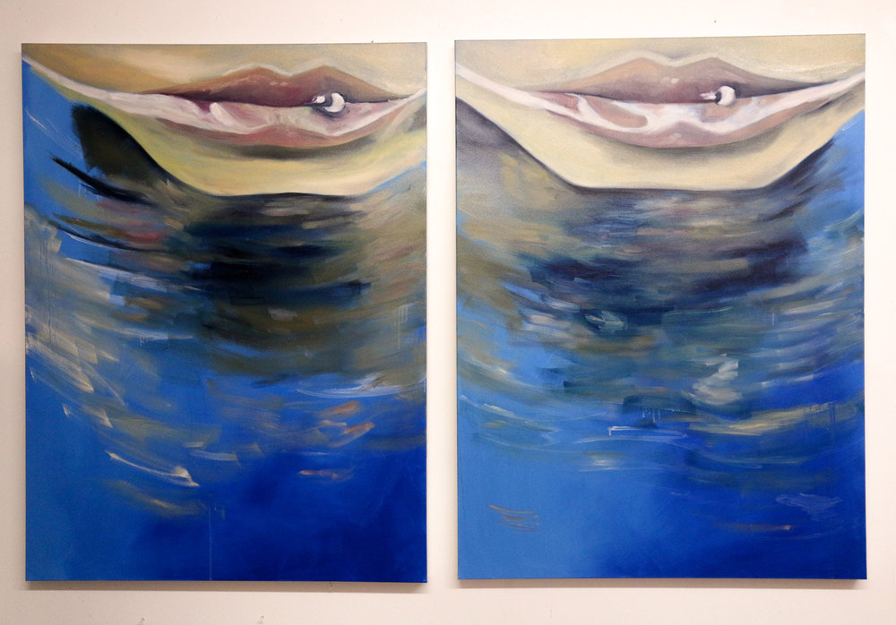 Dream, Dream, Dream, When I Want You,  Diptych, 36x48, oil on canvas