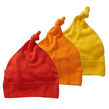Red, orange and yellow babys knot hat