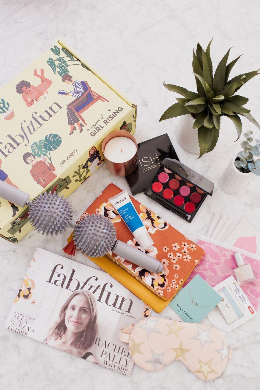 Yellow FabFitFun box with seasonal products