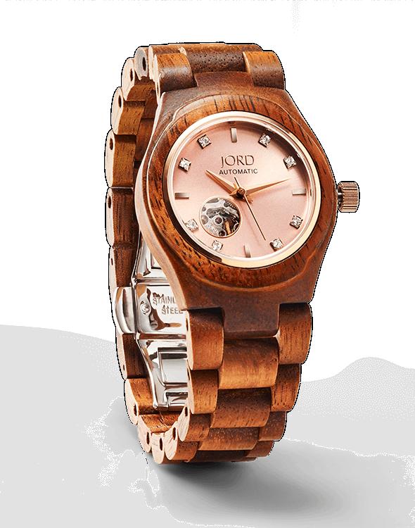 woman's cora koa and rose JORD Watch