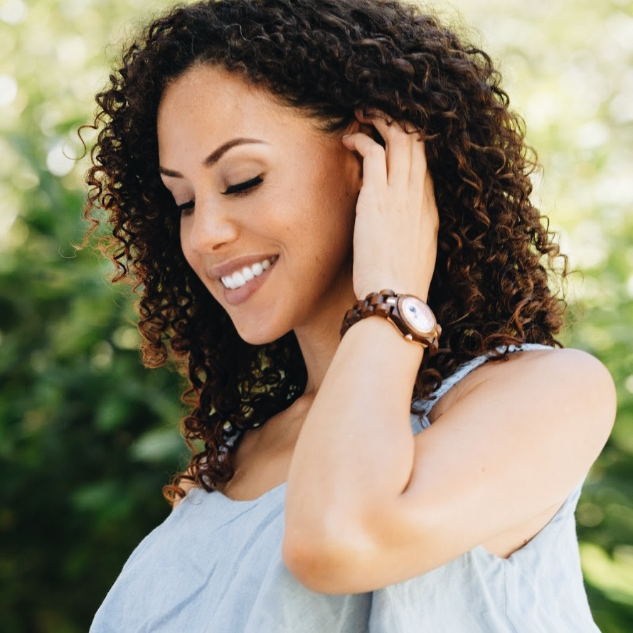 woman wearing a Cora Koa & Rose JORD watch