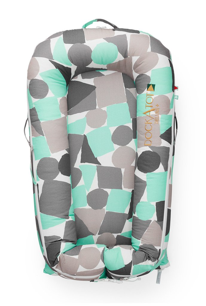 Deluxe Dockatot in block party print - teal, light grey, dark grey and white shapes