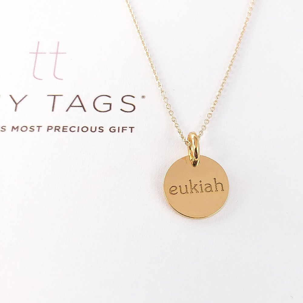 Tiny Tags personalized jewelry in gold circle design
