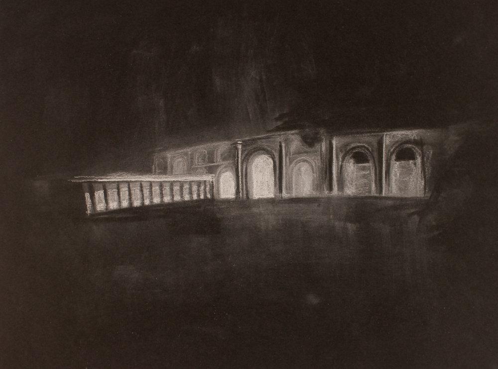 Lost City (Hatra) 1, 2017, 10 x 14 inches, white conte on paper