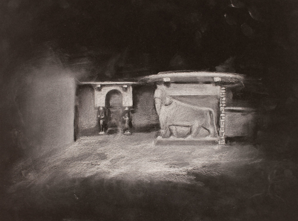 Lost City (Nimrud) 1, 2017, 10 x 14 inches, white conte on paper