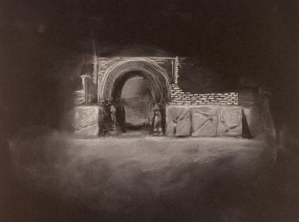 Lost City (Nimrud) 2, 2017, 10 x 14 inches, white conte on paper