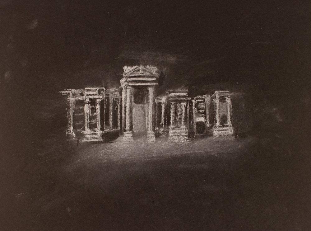 Lost City (Palmyra) 1, 2017, 10 x 14 inches, white conte on paper
