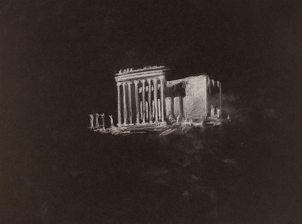 Lost City (Palmyra) 2, 2017, 10 x 14 inches, white conte on paper