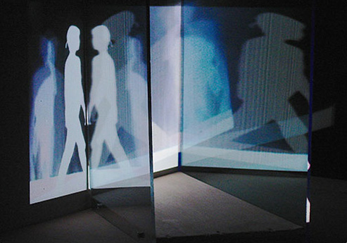 "PROJECTION 2, 2013, 00:02:00 minute loop, color, no audio, h 12 x l 34 x w 35 "", video projection, wood, plexiglass"