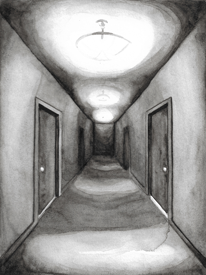 Hallway, New Jersey, 2017, 12 x 8 inches, watercolor on paper