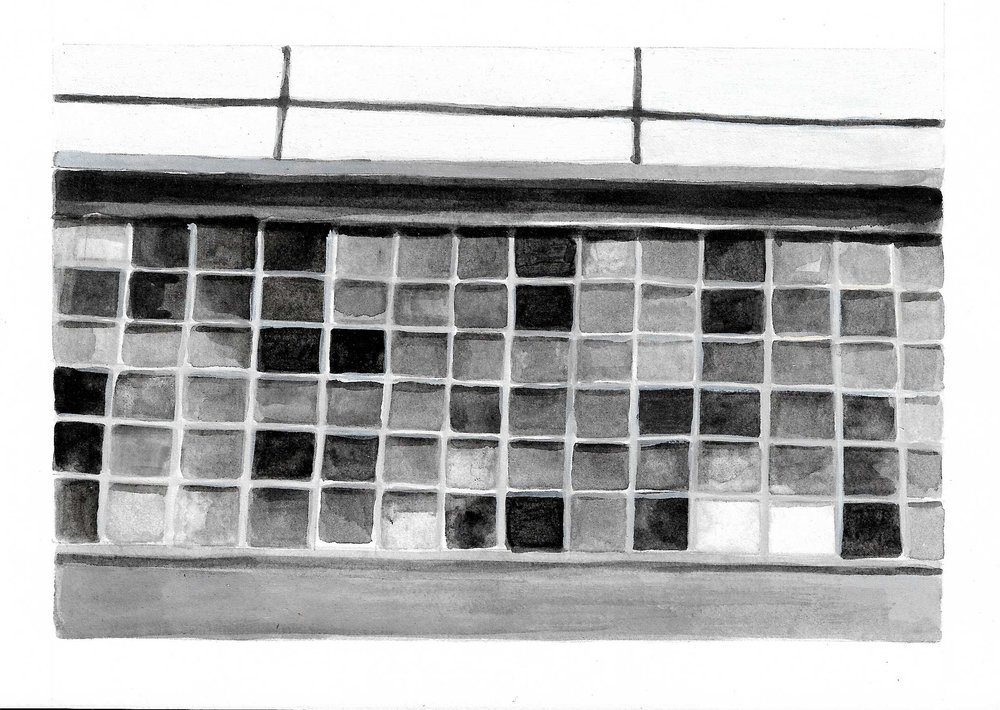 Windows, Long Island City, NY, 2015, 6 x 8 inches, acrylic on paper