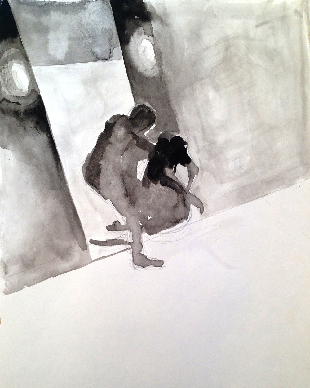 ELEVATOR 2, 2014, 9 X 12 INCHES, INK ON PAPER