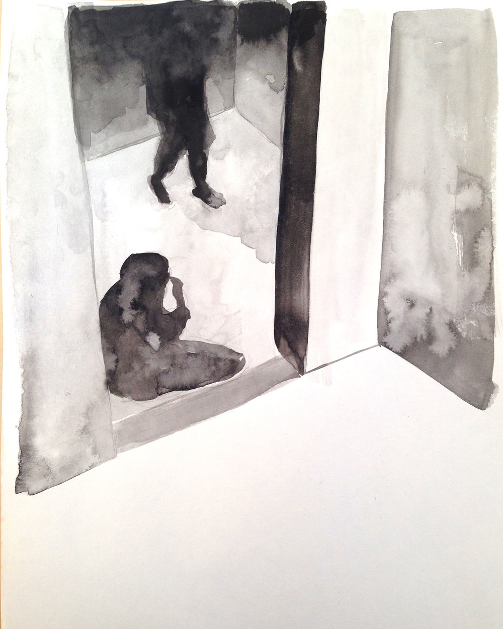 ELEVATOR 3, 2014, 9 X 12 INCHES, INK ON PAPER