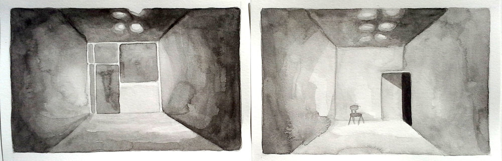 GALLERY, FRONT & BACK 3, 2013, 4 X 12 INCHES, WATERCOLOR ON PAPER