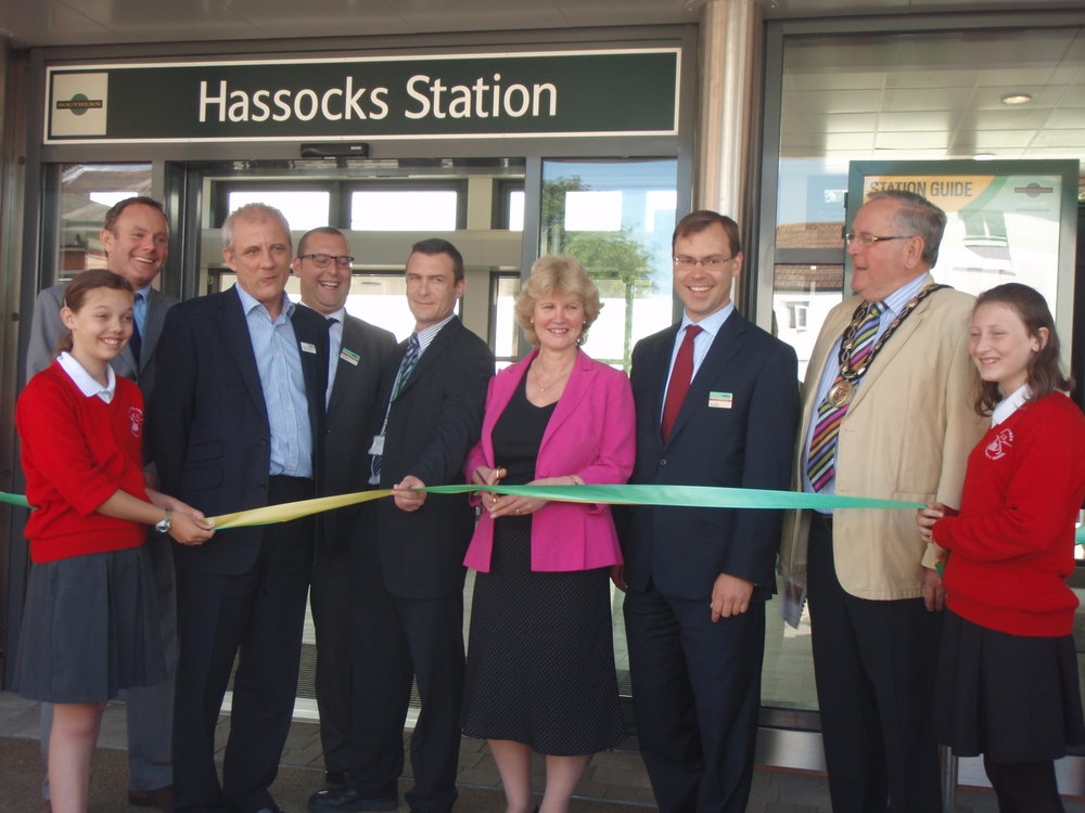 Nick at the opening of the new Hassocks station building in 2013