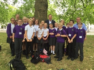 Nick meeting pupils from Duncton school on their school trip to Westminster