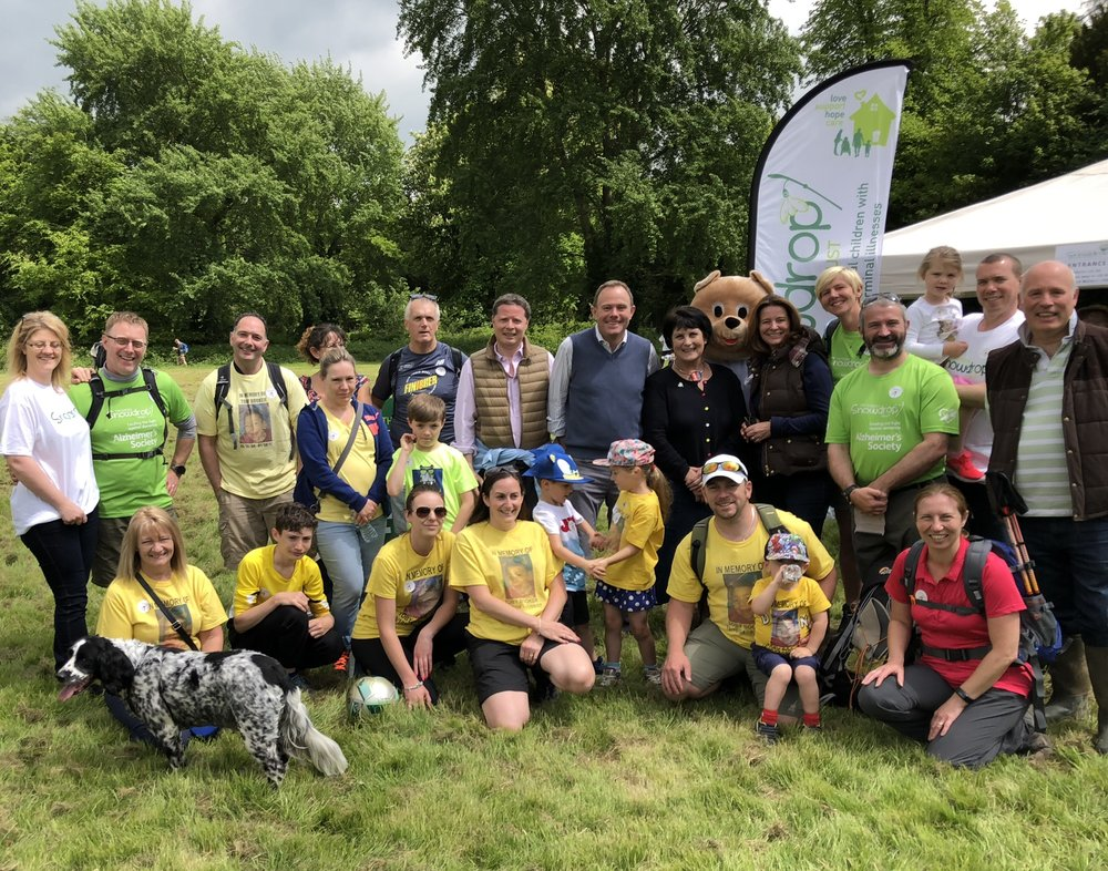 Nick Herbert MP (Arundel & South Downs) and GIllian Keegan MP (Chichester) join Di Levantine, founder and unpaid CEO of the Snowdrop Trust for 25 years, and volunteers for the charity's annual walk in Arundel Park.