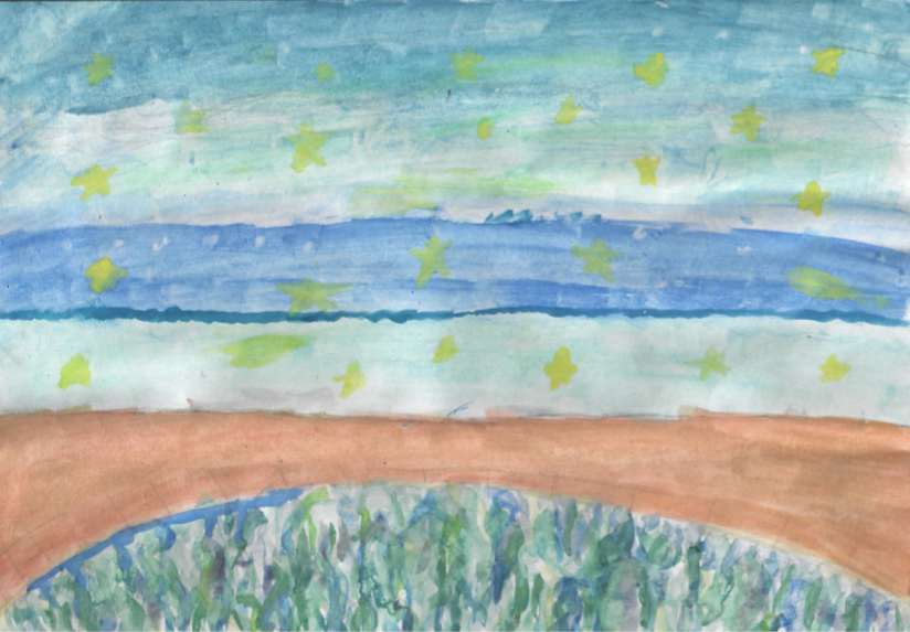 Painting of 'Bridge over the River Arun' by nine-year-old Taylor Young of St Mary's Primary School, Pulborough