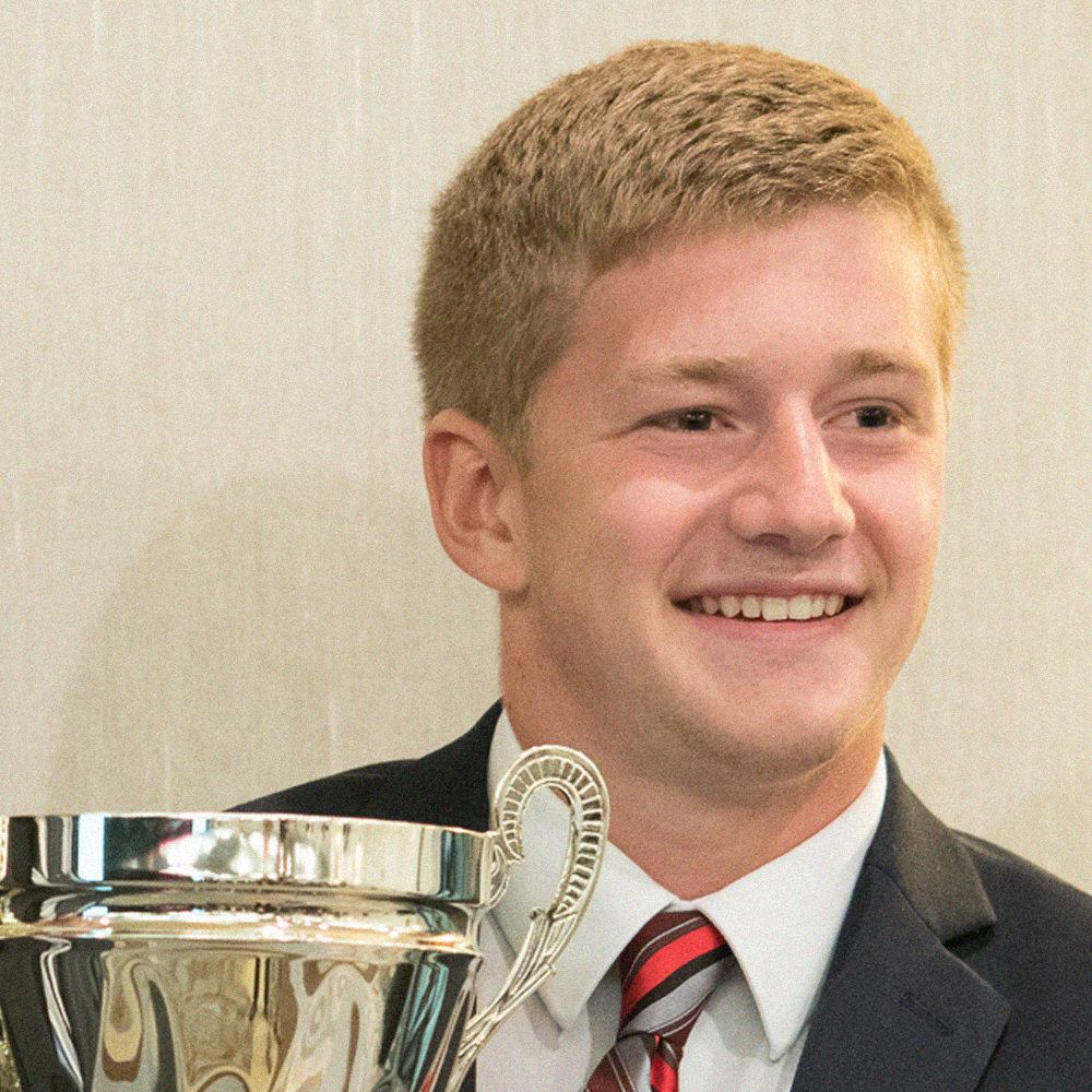 Drew Clark (Trine University, '20) at the 2017 Biennial Convention in Washington D.C. after has Chapter received the Founders' Cup.