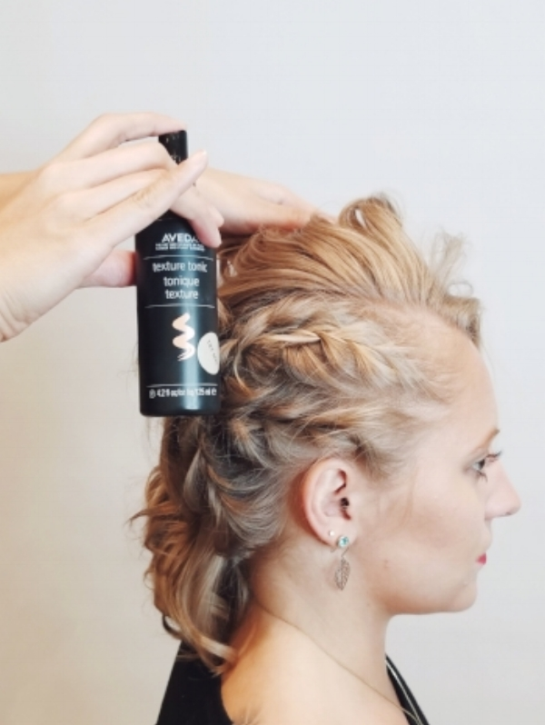 9. Add Texture - To finish off the style, spray Texture Tonic all over and scrunch the hair. This will give it a piece-y, unkempt effect, which emulates that rocker-chic feel. Polished, yet wild and free, and ready to party!