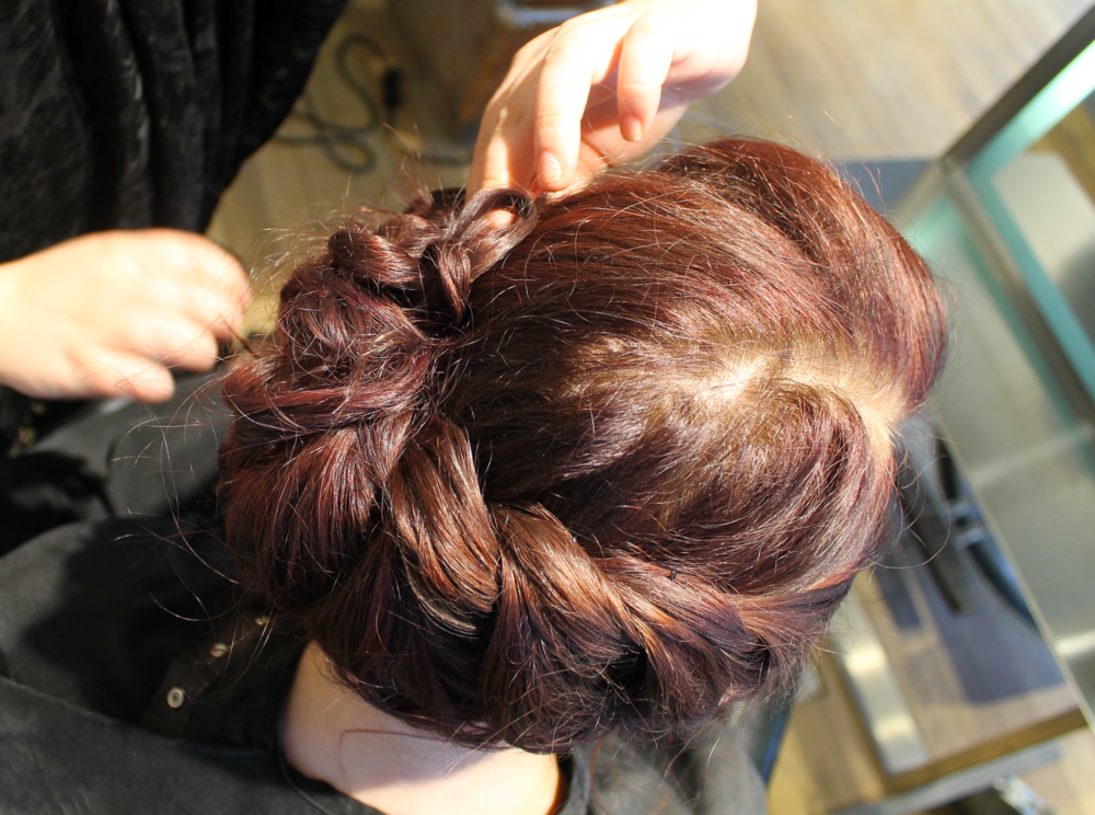 5. Secure the Braid - Pin rope braid into place with bobby pins.