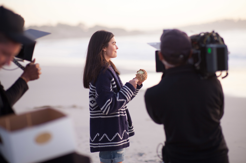 Katie Lee filming in Carmel