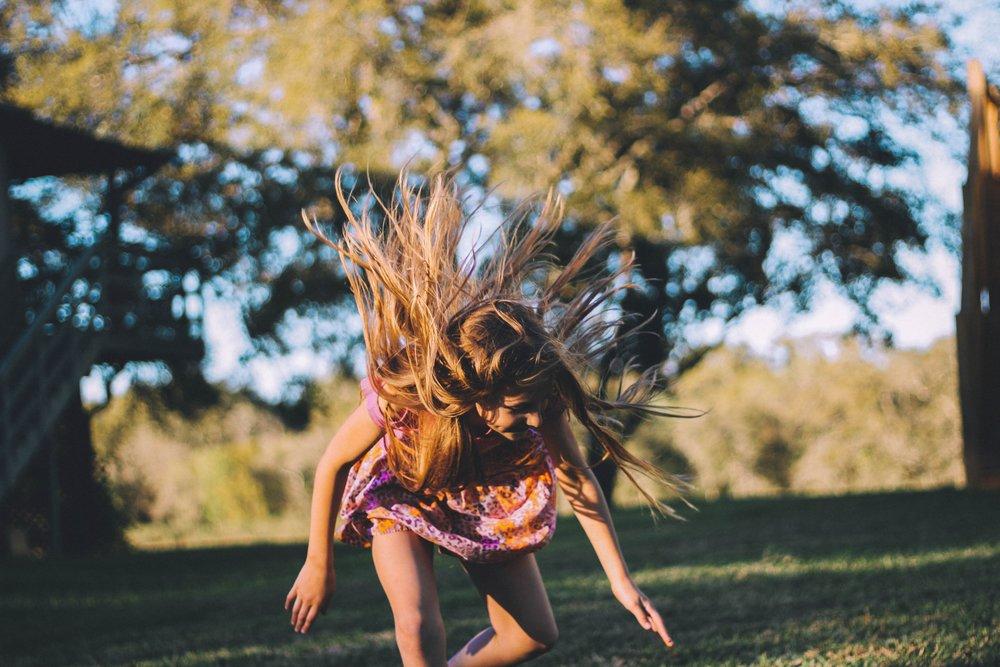 Girl falling down