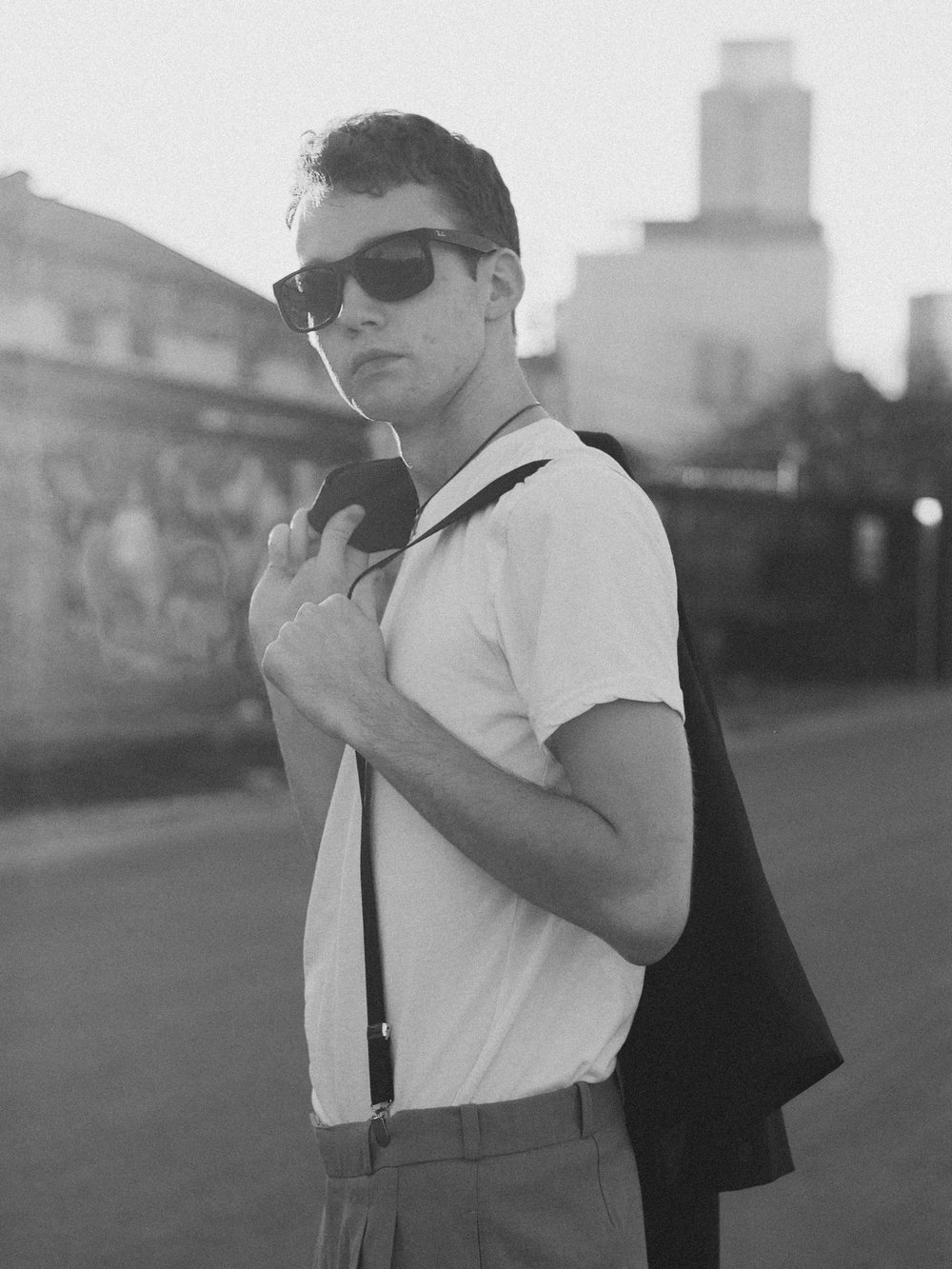 vintage black and white of man in suspenders