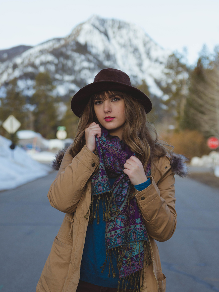 Portrait of Adventure Girl in Aspen colorado