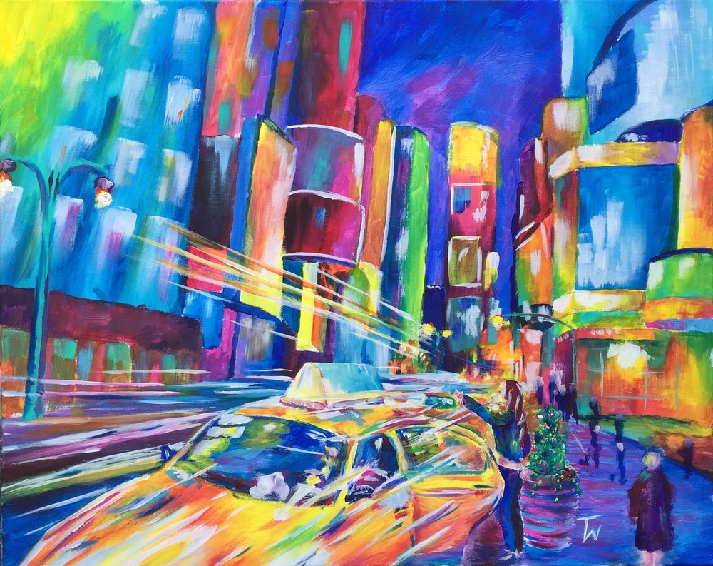 City Life - Painting of Times Square by Taylor Wise